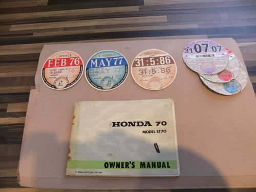 1973 Honda ST 70cc Monkey Bike Manual Old Tax Discs